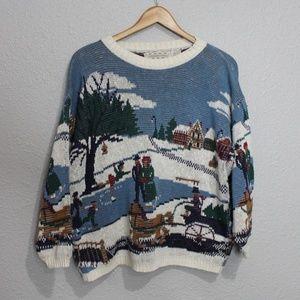 Vintage Sweaters - Vintage Crossing Ice Skating Scene Holiday Sweater